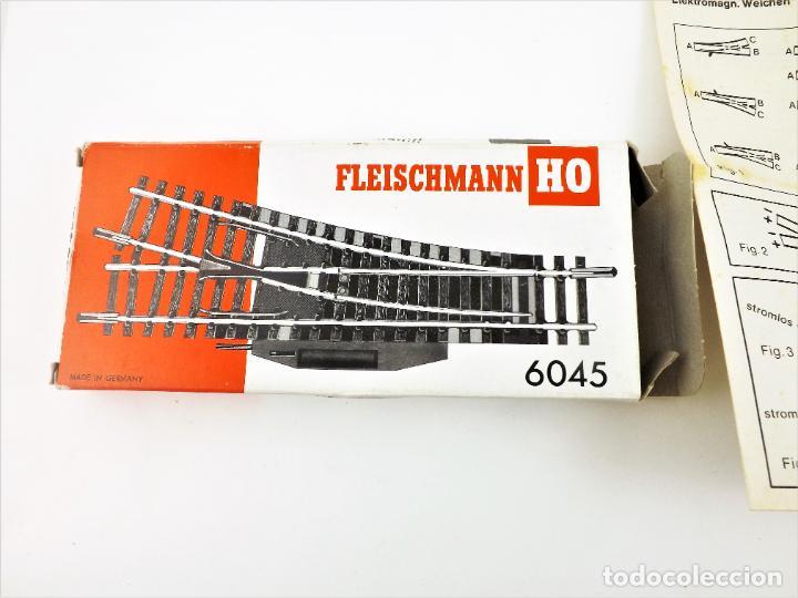 FLEISCHMANN 6045 PAREJA DE DESVÍOS ELÉCTRICOS IZQUIERDA / DERECHA. HO DC (Juguetes - Trenes Escala H0 - Fleischmann H0)