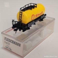 "Trenes Escala: FLEISCHMANN H0 5401- VAGÓN CISTERNA ""SHELL"". Lote 270140298"