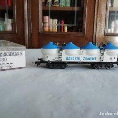 Comboios Escala: FLEISCHMANN H0 5480 VAGÓN CONTENEDOR SILO BAYERN ZEMENT DB ALEMANES OVP. Lote 284344508