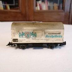 Trenes Escala: FLEISCHMANN H0 VAGÓN CERRADO CERVECERO KULMBACHER REICHELBRÄU DB ALEMÁN ENVEJECIDO. Lote 287619103