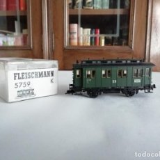 Trenes Escala: FLEISCHMANN H0 5759K VAGÓN DE PASAJEROS 2ª CLASE DR ALEMÁN OVP. Lote 287642943