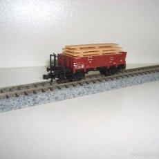 Trenes Escala: FLEISCHMANN N BORDE MEDIO CON BARANDILLA CARGA MADERAS (CON COMPRA 5 LOTES O MAS ENVÍO GRATIS). Lote 60364099
