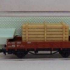 Trenes Escala: FLEISCHMANN N - REF. 8200 - VAGÓN DE BORDE BAJO CON CARGA - CAJA ORIGINAL. Lote 89624004