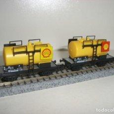 Trenes Escala: FLEISCHMANN N 2 CISTERNAS SHELL (CON COMPRA DE CINCO LOTES O MAS ENVÍO GRATIS). Lote 140152510