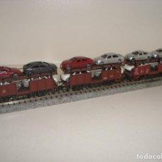 Trenes Escala: FLEISCHMANN N 3 PORTACOCHES CON COCHES (CON COMPRA DE CINCO LOTES O MAS ENVÍO GRATIS). Lote 142586906