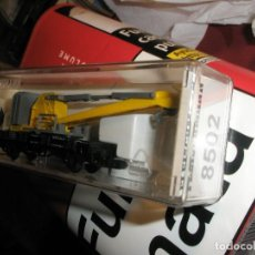 Trenes Escala: 1 VAGON FLEISCHMANN ESC. N GRUA PLATAFORMA AMARILLO ALEMAN DB.NUEVO A ESTRENAR NUNCA USADO NI JUGADO. Lote 154472670