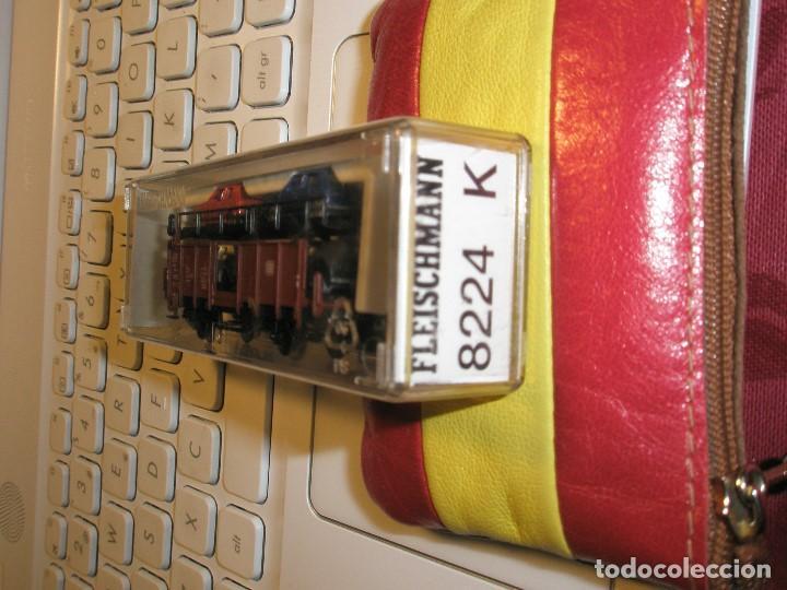 1 UN VAGON FLEICSCHMANN ESCALA N REF:8224 TRANSPORTE DE 4 COCHES NUEVO (Juguetes - Trenes a Escala N - Fleischmann N)