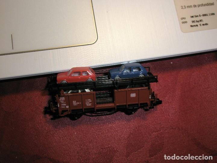 Trenes Escala: 1 UN VAGON FLEICSCHMANN ESCALA N REF:8224 TRANSPORTE DE 4 COCHES NUEVO - Foto 3 - 154477122