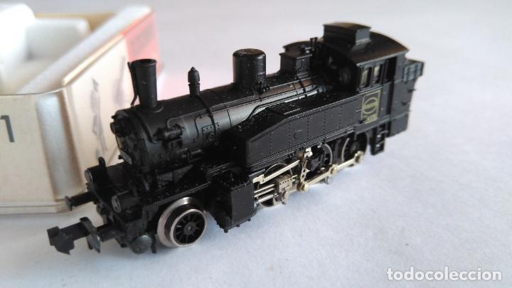 Trenes Escala: FLEISCHMANN PICOLO N LOCOMOTORA VAPOR CON LUCES. MUY BUEN ESTADO. EN CAJA.VÁLIDA IBERTREN 2N - Foto 3 - 155506474
