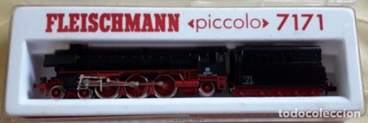FLEISCHMANN PICCOLO 7171, LOCOMOTOVA Y VAGÓN, A ESTRENAR, EMBALAJE ORIGINAL (Juguetes - Trenes a Escala N - Fleischmann N)