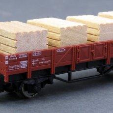 Trenes Escala: VAGÓN BORDE BAJO 4 CAJAS MADERA FLEISCHMANN TREN N. Lote 176185372