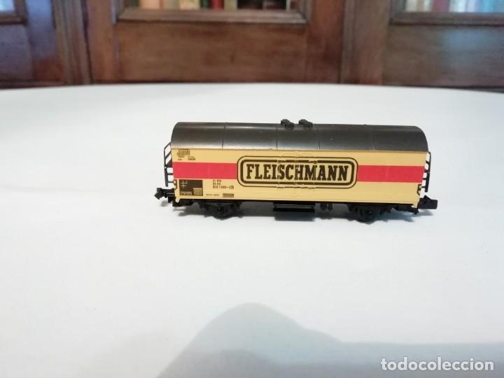 FLEISCHMANN N 9391VAGÓN FRIGORÍFICO CERRADO AMARILLO PERFECTO ESTADO (Juguetes - Trenes a Escala N - Fleischmann N)
