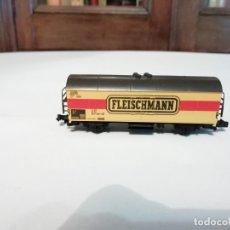 Trenes Escala: FLEISCHMANN N 9391VAGÓN FRIGORÍFICO CERRADO AMARILLO PERFECTO ESTADO. Lote 176734397