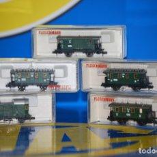 Trenes Escala: LOTE 5 VAGONES FLEISCHMANN 8051-8051K-8052-8055-8301-NUEVO SIN USO. Lote 181014860