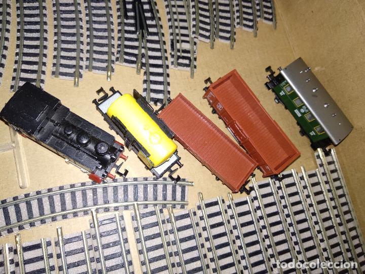 Trenes Escala: circuito fleischmann piccolo locomotora vagones shell trafo desvíos rectas curvas - Foto 14 - 183727202