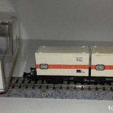 Trenes Escala: FLEISCHMANN N PLATAFORMA CONTENEDORES REF 8234 L44-220 (CON COMPRA DE 5 LOTES O MAS ENVÍO GRATIS). Lote 192262040