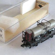 Trenes Escala: FLEISCHMANN N VAGÓN CISTERNA CON GARITA .EN CAJA. VÁLIDO IBERTREN,ROCO,TRIX,ETC. Lote 192480652