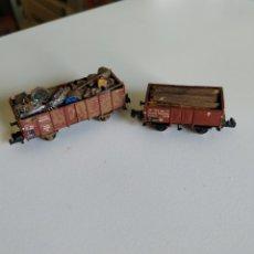 Trenes Escala: 2 VAGONES FLEISCHMANN PICCOLO DE CHATARRA Y MADERA ESCALA N. Lote 208692906
