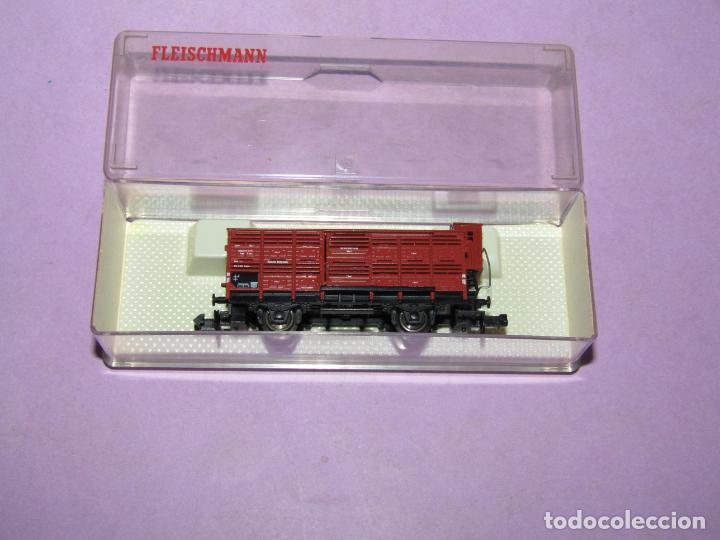 Trenes Escala: Antiguo Vagón Transporte Ganado con Garita Guardafrenos Escala *N* Ref 8354 de FLEISCHMANN PICCOLO - Foto 4 - 218807005