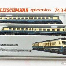 Trenes Escala: FLEISCHMANN PICCOLO 7434 SET DE DOS UNIDADES ESCALA N DC ANALOG. Lote 253299335