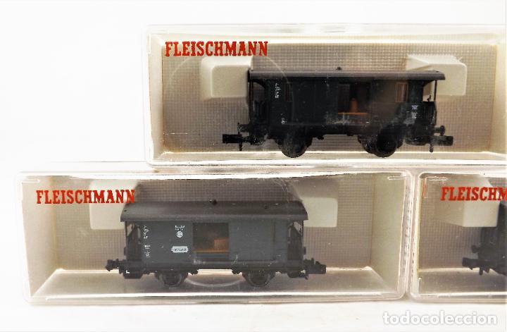 Trenes Escala: Fleischmann Piccolo. Conjunto de tres unidades 8055+8055+8055 Vagones de carga - Foto 2 - 254180610