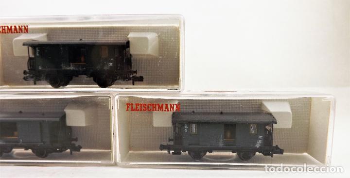 Trenes Escala: Fleischmann Piccolo. Conjunto de tres unidades 8055+8055+8055 Vagones de carga - Foto 3 - 254180610