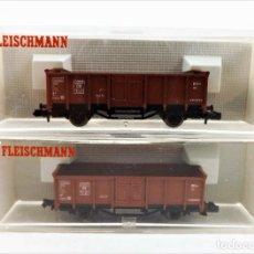 Trenes Escala: FLEISCHMANN N 8205+8205 VAGONES DE CARGA ABIERTOS. Lote 254180870