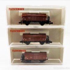 Trenes Escala: FLEISCHMANN N 8210+8210+8210 VAGONES CARGA CERRADOS TAPAS ABATIBLES. Lote 254181095