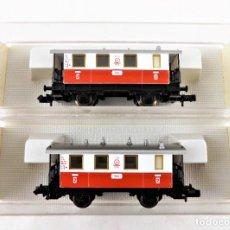 Trenes Escala: FLEISCHMANN PICCOLO CONJUNTO DE DOS UNIDADES 8056 + 8056 COCHES PASAJEROS TAL TREN CREMALLERA. Lote 254324815