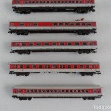 Trenes Escala: SET DE 5 VAGONES INTERCITY FLEISCHMANN CON LUZ Y PASAJEROS SENTADOS ESCALA N. Lote 289307428