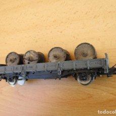 Trenes Escala: IBERTREN VAGON PLATAFORMA GRIS CON BOBINAS . Lote 101002775