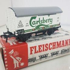 Trenes Escala: FLEISCHMANN 5025 VAGÓN DE MERCANCÍAS CARLSBERG DEL DSB DE 11 CM. Lote 179169638