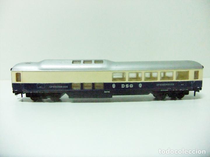 Trenes Escala: VAGÓN RESTAURANTE REF. 7446 + CAJA REF. 7450 HORNBY-ACHO MECCANO RUCO - H0 TYPE RHEINGOLD TREN WAGON - Foto 2 - 189432027
