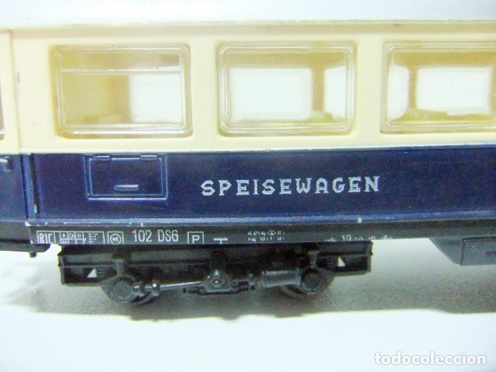 Trenes Escala: VAGÓN RESTAURANTE REF. 7446 + CAJA REF. 7450 HORNBY-ACHO MECCANO RUCO - H0 TYPE RHEINGOLD TREN WAGON - Foto 7 - 189432027