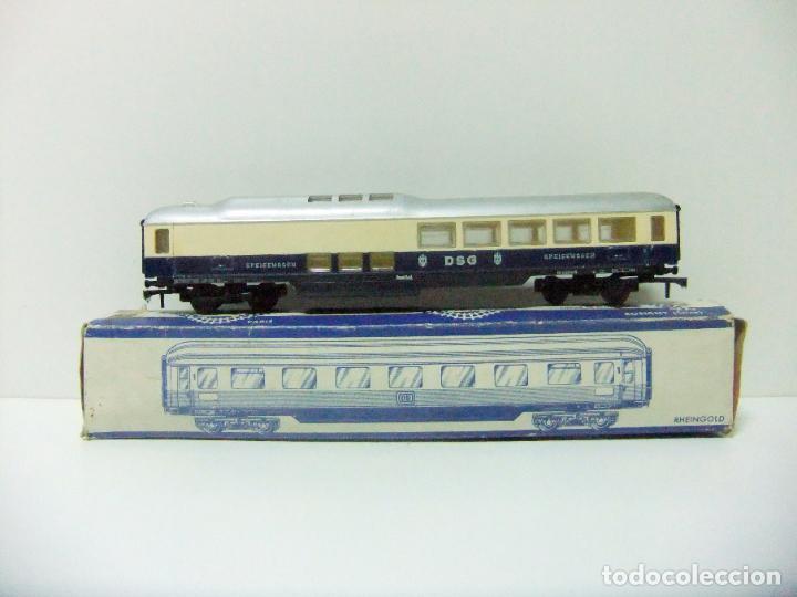 VAGÓN RESTAURANTE REF. 7446 + CAJA REF. 7450 HORNBY-ACHO MECCANO RUCO - H0 TYPE RHEINGOLD TREN WAGON (Juguetes - Trenes Escala H0 - Hornby H0)