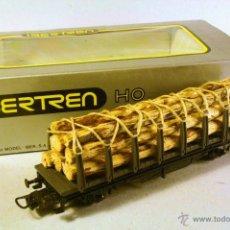 Trenes Escala: IBERTREN #2352. ESCALA H0. VAGÓN TELERO GRIS CON CARGA DE TRONCOS. LA CARGA NO ES ORIGINAL. Lote 46129144