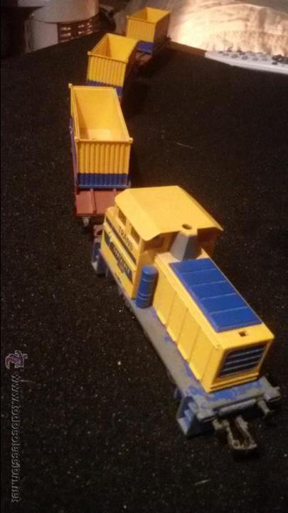 ANTIGUO TREN VAGONES Y MAQUINA LOCOMOTORA IBERTREN VAGON TRANS CONTAINER HO (Juguetes - Trenes a Escala - Ibertren H0)