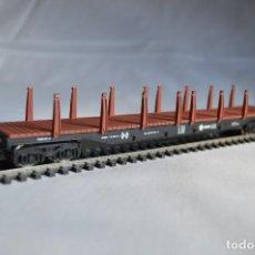 Trenes Escala: VAGÓN DE MERCANCÍAS PARA MADERAS O TUBOS. IBERTREN. H0. ROMANJUGUETESYMAS.. Lote 89304332