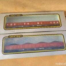 Trenes Escala: IBERTREN DOS VAGONES BOGIES FOSFANITRA Y CARBON . Lote 113061679