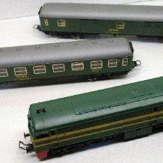 Trenes Escala: IBERTREN H0, LOCOMOTORA DIESEL ALCO 2100 RENFE + COCHE 2º CLASE + FURGÓN. Lote 183326711