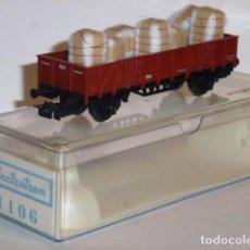 Trenes Escala: 0173-ELECTROTREN REF.1106 VAGÓN BORDES BAJOS BALAS DE ALGODÓN R.N H0 - 1/87. Lote 151662898
