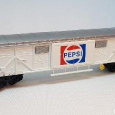 Trenes Escala: VAGON IBERTREN PEPSI PUERTAS CORREDERAS H0 EN EXCELENTE ESTADO CON CAJA. Lote 154667854