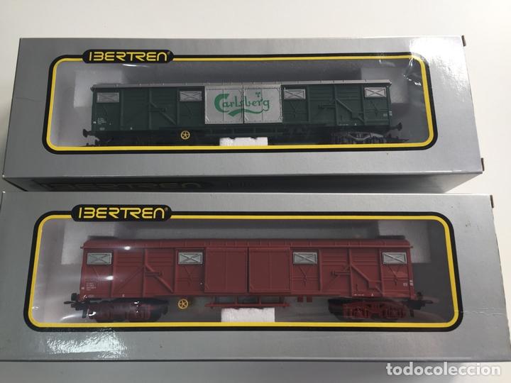 VAGÓNES CARLSBERG Y MERCANCIAS IBERTREN ESCALA H0 REF. 2470 Y 2474 EN CAJA (Juguetes - Trenes a Escala - Ibertren H0)