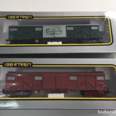 Trenes Escala: VAGÓNES CARLSBERG Y MERCANCIAS IBERTREN ESCALA H0 REF. 2470 Y 2474 EN CAJA . Lote 166634662