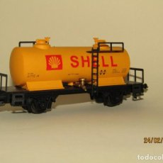 Trenes Escala: ANTIGUO VAGÓN CISTERNA SHELL 2 EJES ESC. *H0* REF 2382 DE IBERTREN MADE IN SPAIN 1980S. Lote 195197333