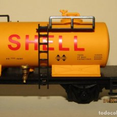 Trenes Escala: ANTIGUO VAGÓN CISTERNA SHELL 2 EJES ESC. *H0* REF 2382 DE IBERTREN MADE IN SPAIN 1980S. Lote 195197500