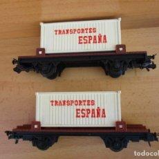 Trenes Escala: IBERTREN DOS VAGONES PLATAFORMA CONTENEDORES TRANSPORTES ESPAÑA VAN SIN CAJA. Lote 200761410