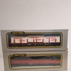 Trenes Escala: IBERTREN HO VAGON MERCANCIAS EN CAJA ORIGINAL LOTE DE 2 GRAB ESTADO Y ORIGINALES. Lote 218157350