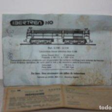 Trenes Escala: DOCUMENTACIÓN IBERTREN DEL AÑO 1988. Lote 229883585