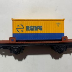 Trenes Escala: VAGÓN DEL TREN ELÉCTRICO IBERTREN ESCALA H0 2000 CONTAINER RENFE. Lote 235961075